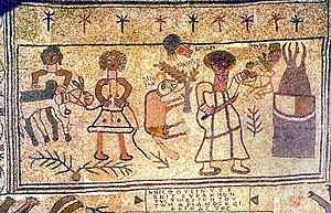 Binding of Isaac - Mosaic on the floor of Beth Alpha depicting the Akedah
