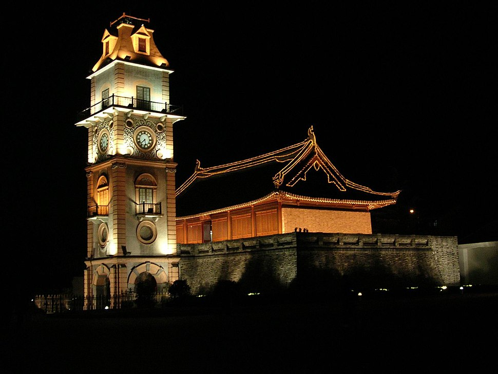 Bell tower, campus of Nantong Middle School, PRC