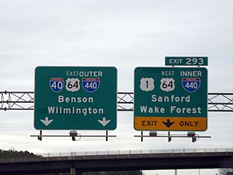 U.S. Route 1 in North Carolina - I-40 east approaching the Raleigh Beltline, which includes US 1.