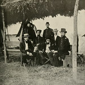Benjamin Grierson - Union Cavalry Colonel Benjamin H. Grierson (seated with hand resting on chin) and staff
