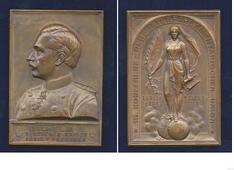 Inter-Parliamentary Union - Art Nouveau plaque-medallion for the 15th Inter-Parliamentary Conference 1908 in Berlin