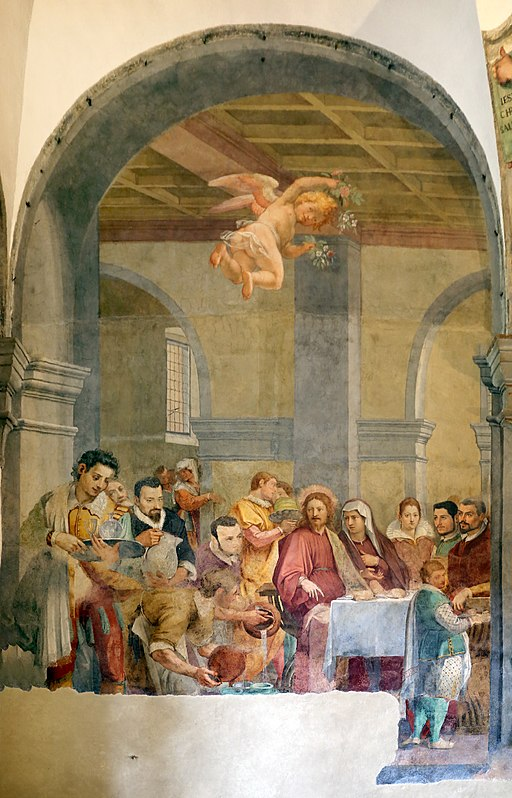 Bernardino poccetti e bottega, tre cene, 1597, 02 nozze di cana 1