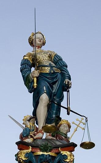 Gerechtigkeitsbrunnen (Bern) - The statue of Lady Justice on the Gerechtigkeitsbrunnen