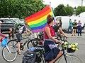 Bicycles with rainbow flag (7614541694).jpg