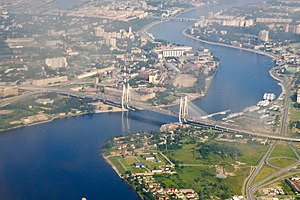 Saint Petersburg Ring Road - The Bolshoy Obukhovsky Bridge, the only non-bascule bridge over the Neva River among the bridges of Saint Petersburg