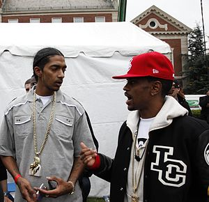 Nipsey Hussle - Hussle (left) with rapper Big Sean (right) in 2009.
