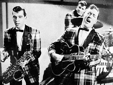 Bill Haley and his Comets performing in the 1954 Universal International film Round Up of Rhythm BillHaley.JPG