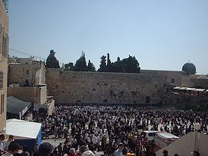 Kohen - Large crowds congregate on Passover at the Western Wall to receive the priestly blessing.