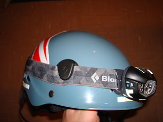 Headlamp (outdoor) - Black Diamond Spot attached to a helmet