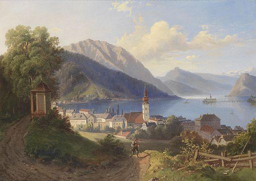 Blick auf Gmunden c1870