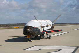 Boeing X-37B after ground tests at Vandenberg AFB, October 2007.jpg