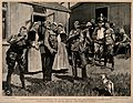 Boer War; patients outside a military hospital gargling with Wellcome V0015597.jpg