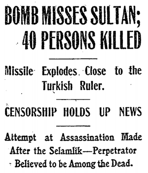 Yıldız assassination attempt - The headline of the New York Times from 22 July 1905