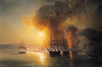 Battle of Veracruz (1838) - Bombardment of San Juan de Ulúa off Vera Cruz. From left to right, the corvette Créole, and the frigates Gloire, Néréide and Iphigénie. Painting by Théodore Gudin.