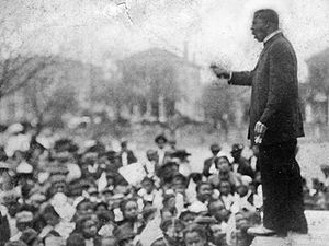 "Cotton States and International Exposition - Booker T. Washington giving ""Atlanta compromise"" speech"