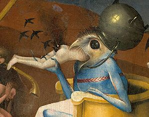 Bosch, Hieronymus - The Garden of Earthly Delights, right panel - Detail Bird-headed monster or The Prince of Hell - close-up head (lower right).jpg