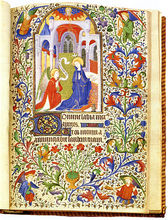 Book of hours - Book of hours, Paris c. 1410. Miniature of the Annunciation, with the start of Matins in the Little Office, the beginning of the texts after the calendar in the usual arrangement.