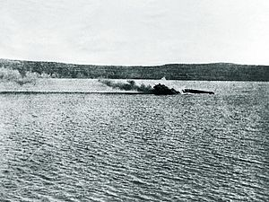 French battleship Bouvet - Bouvet capsizes in the Dardanelles, 18 March 1915.