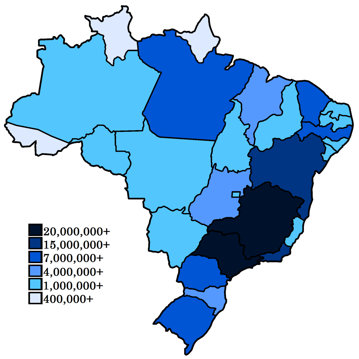 List Of Brazilian States By Population Wikipedia - Brazil states map