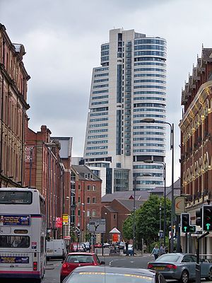 Bridgewater Place, a symbol of Leeds' growing financial importance. Bridgewater Place from Call Lane.jpg