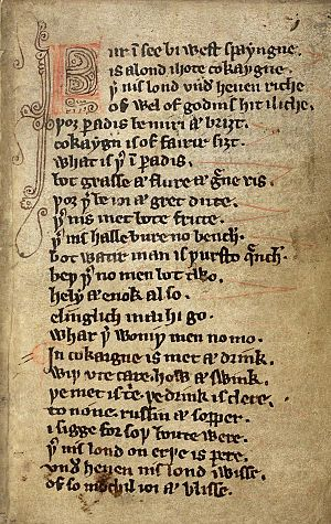 Kildare Poems - MS Harley 913, fol.3r. Beginning of The Land of Cockaygne