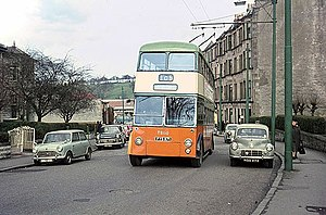 Trolleybuses in Glasgow - TB110 at the route 105 terminus in Mearns Road, Clarkston.