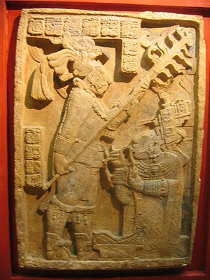 Sacrifice in Maya culture - Lintel 24 at Yaxchilan, depicting Lady Xoc drawing a barbed rope through her tongue.