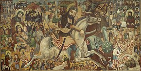 A painting depicting a rider stabbing a foot-soldier; various other scenes in the background