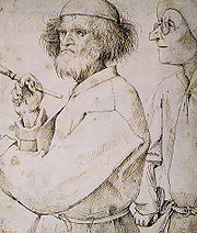 Bruegel's The Painter and The Connoisseur drawn c. 1565 is thought to be a self- portrait