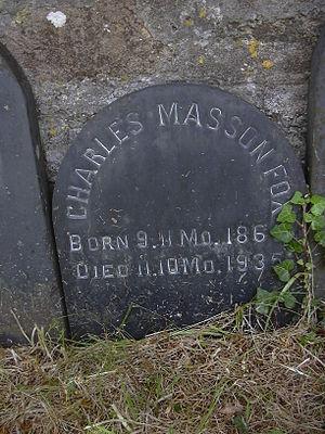 Charles Masson Fox - C.M.Fox's gravestone at Budock Quaker Burial Ground