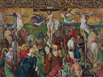 Crucifixion, from the Buhl Altarpiece, a particularly large Gothic oil on panel painting from the 1490s. Buhl StJeanBaptiste27.JPG
