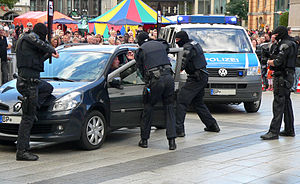 Arrest unit - A BFE unit of the German Federal Police demonstrates an arrest during a police show in Hannover.