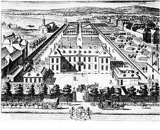Burlington Gardens - A view of Burlington House in the 1690s, before the area was fully developed, with the Burlington Gardens at the far end
