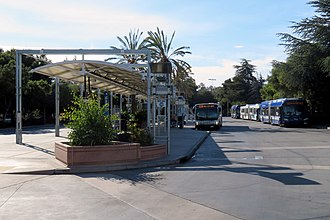 Palo Alto station - Buses in the main bus plaza in 2018
