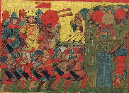 Alexander the Great depicted in a 14th-century Byzantine manuscript Byzantine Greek Alexander Manuscript Cataphract (cropped).JPG