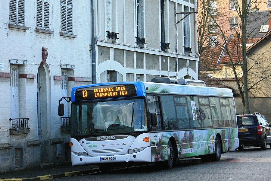Le Scania Omnicity Éthanol des CITURA en test jusqu'à février 2012 au terminus SBC Mairie de la ligne 13