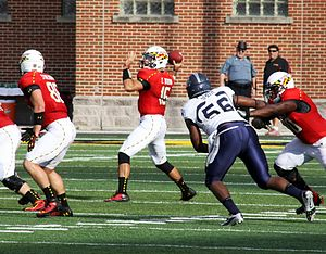 C. J. Brown (American football) - Brown passes during Maryland's win over Old Dominion in September 2013
