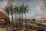 COLLECTIE TROPENMUSEUM Olieverfschilderij voorstellende het Kasteel Batavia gezien van Kali Besar west met op de voorgrond de vismarkt TMnr 118-167