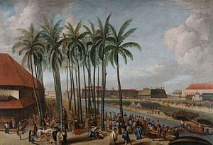 Invasion of Java (1811) - Batavia, capital of Dutch East Indies, with citadel in the background.