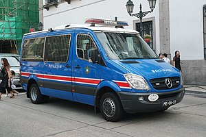 Law enforcement in China - A Mercedes-Benz Sprinter police patrol van of the Public Security Police Force of Macau.