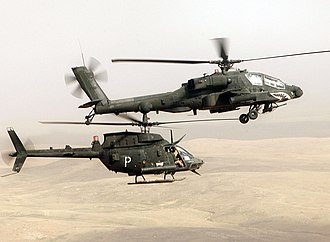 Army aviation - U.S. soldiers in OH-58D Kiowa and AH-64 Apache helicopters conduct a combat air patrol in Iraq