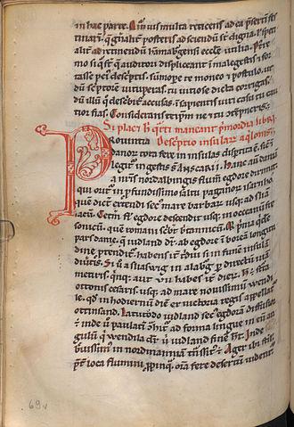 Gesta Hammaburgensis ecclesiae pontificum - First page of the descriptio insularum aquilonis in the Vienna manuscript (Codex Vindobonensis 521, fol. 69v).