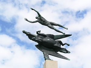 Bids for the 2004 Summer Olympics - Man and Pegasus statue at Millesgården, in Lidingö.