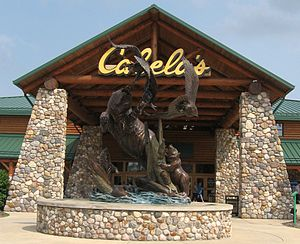 English: The statute outside Cabela's in Wheel...