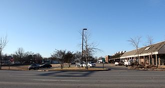 Cabot, Arkansas - Southward view of the Cabot Mini-Mall along First Street in downtown Cabot in December 2006