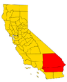 California county map (Inland Empire highlighted) Gold color no trans.png