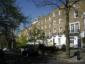 Campden Hill - Campden Hill Square, Regency houses on north side of Campden Hill