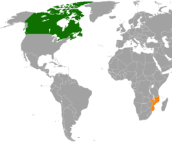 Map indicating locations of Canada and Mozambique