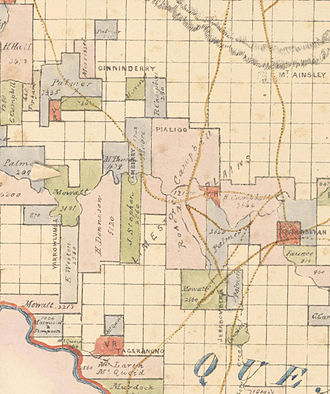 """History of Canberra - Map of the Canberra area 1843–1846 showing """"Camberry"""", """"Yarrowlumla"""", """"Tageranong"""" and other names similar to modern names"""
