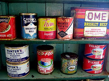 English: Canned food - Port Lockoy, Antarctica